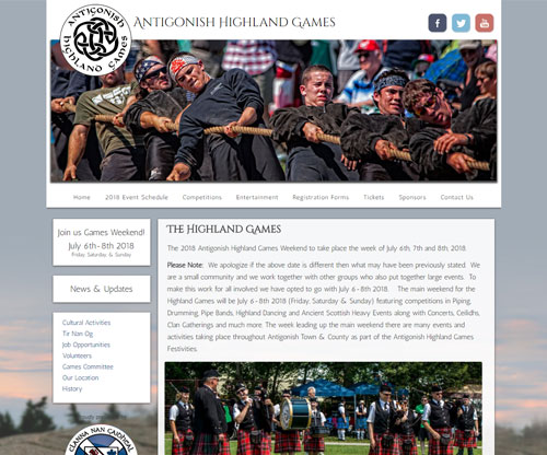 Simply Ducky Web Design: Antigonish Highland Games